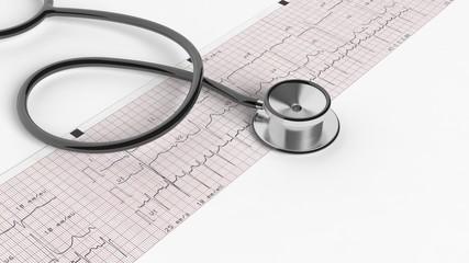 Stethoscope and cardiogram isolated on white background