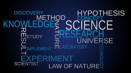 Science, knowledge word cloud - blue bg. Loop able.