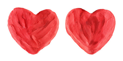 Two Red Hearts Made of Plasticine