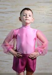 Boy Wearing Pink Dance Outfit Posing in Studio