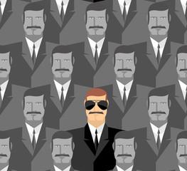 Spy. Seamless pattern of people. A crowd of men.