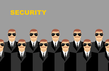 Security Bodyguard. Pattern of men in glasses.  Vector backgroun