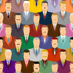 People seamless pattern. Men with moustaches and wearing costume