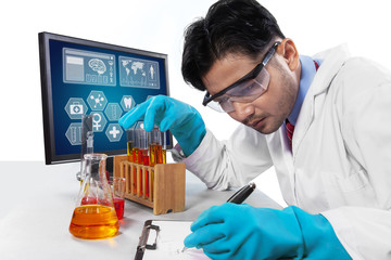 Scientist observing the experiment