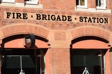 Front of red brick fire station