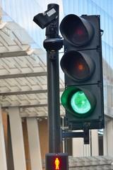 City traffic light at green