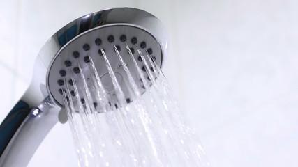 Shower head in bathroom. 4K UHD.