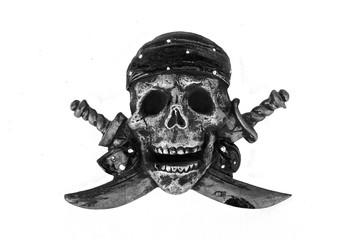 Pirate Flag Skull and Cross Bones Motif isolated on white backgr