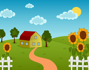Vector illustration of a farm house on the field with sunflowers