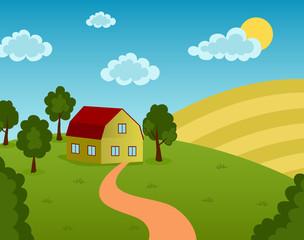 Vector illustration of a farm house on the field