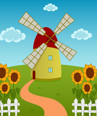 Vector illustration of a windmill on the sunflowers field