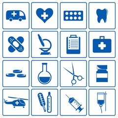 Medical Icon Set Blue