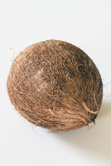 A whole coconut displayed on a white background
