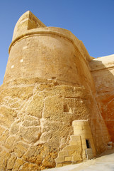 The walls of  Victoria citadel (Rabat ) in Gozo Island , Malta.