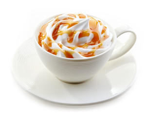 cup of caramel latte with whipped cream