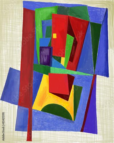 Абстракция, которая состоит из множества цветных фигур © moypapaboris