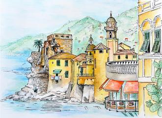 akvarell Camogli