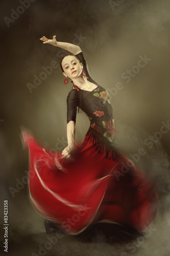young woman dancing flamenco Plakát