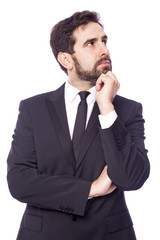 Portrait of a thoughtful business man, isolated on white backgro