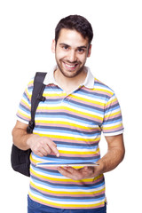 Male student with a tablet pc, isolated on white background