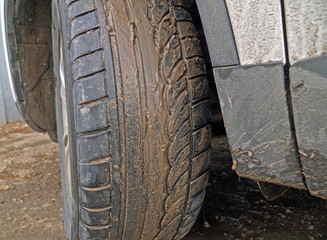 Dirty wheel of the car