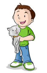 Niño con gatito de mascota