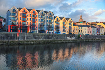 Bank of the river Lee in Cork, Ireland city center