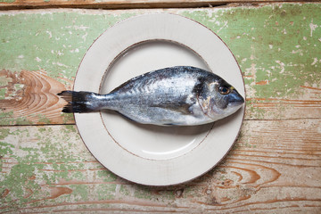 Plate with a fresh fish (Sparus aurata) on rustic green table