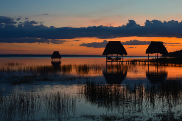 Sunset at the lake Peten Itza in El Ramate