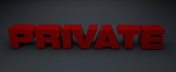 3d letters private on grey