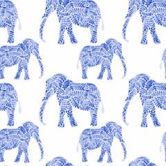 Elephant seamless pattern background vector illustration