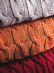 Folded wool in three colours