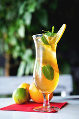 Iced drink with mint and citrus fruit. Selective focus
