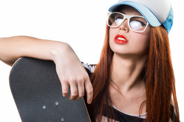 teenager girl with skateboard white background. Isolated