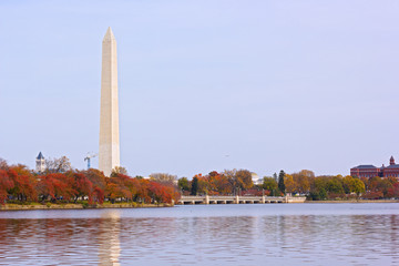Tidal Basin and Washington Monument in fall.