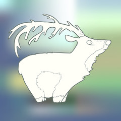 Vector Illustration Hand-drawn deer with long horns on blurred