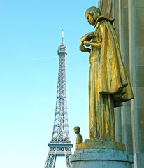 Eiffel tower and statue on Trocadero