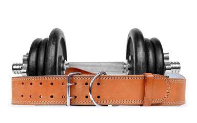 Dumbbell with belt isolated on white background
