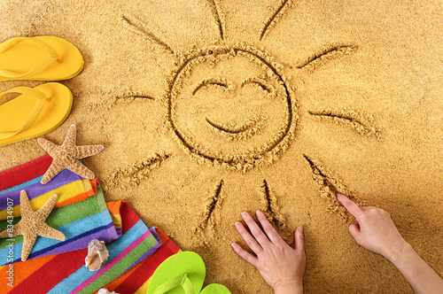 Poster Summer beach smiling sun