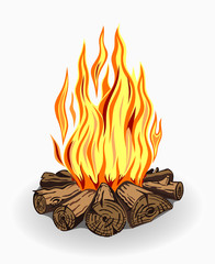 Illustration of isolated camp fire on white background.