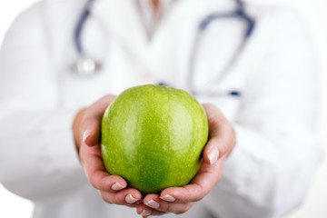 Doctor and green appple