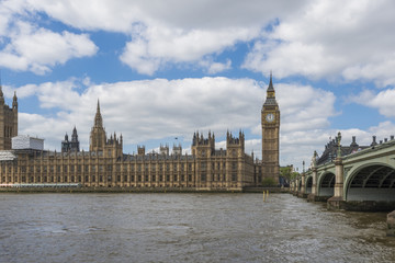View of Big Ben and Houses of Parliament in London across Thames