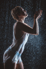 young woman in the rain