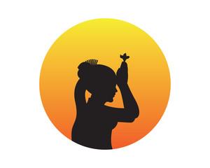 Balinese Girl Praying Silhouette