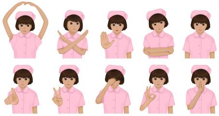 看護師のセット ピンクの制服