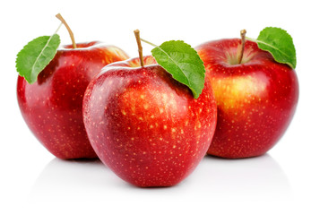 Three red apples with leaf isolated on a white background
