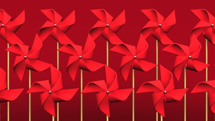 Loopable Red Pinwheels On Red Background
