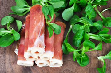 Prosciutto ham with feldsalat