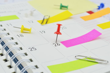 Red pin with post It notes and pin on business diary page
