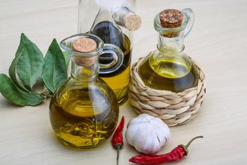 Olive oil in the bottles